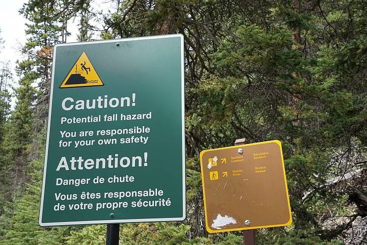 Mistaya Canyon potential fall hazard