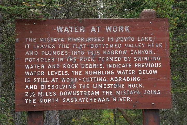 Mistaya River info board