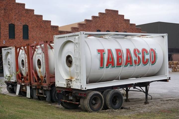 Tabasco storage tanks at the Tabasco factory tour in Avery Island Louisiana