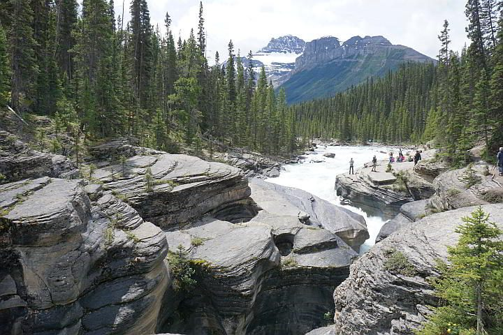 Tourists enjoy Mistaya Canyon Banff