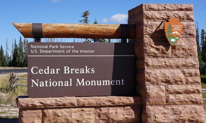 Cedar Breaks National Monument entrance sign