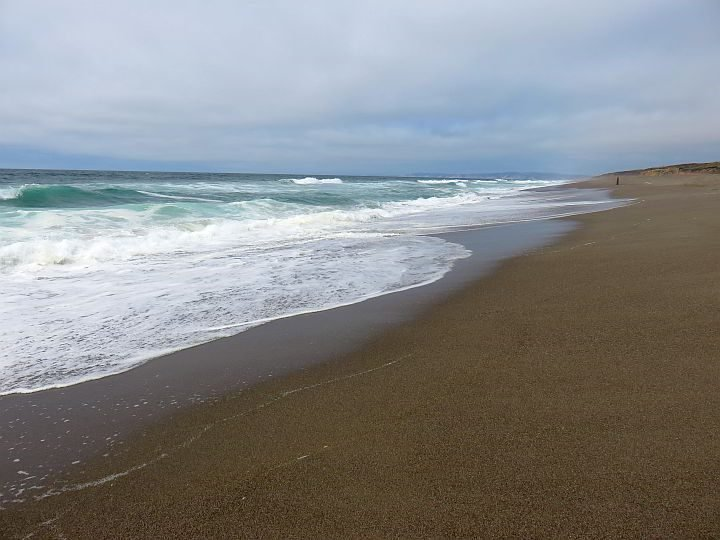 Waves roll in from the Pacific Ocean at South Beach Point Reyes California