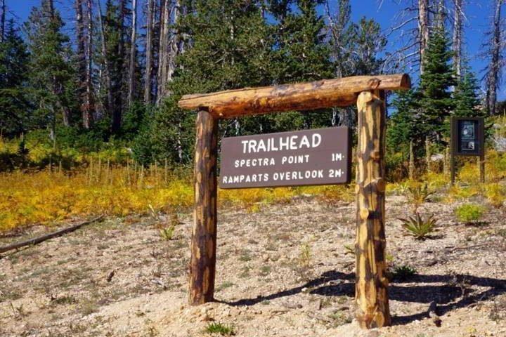 Spectra Point Rampart Overlook trailhead sign