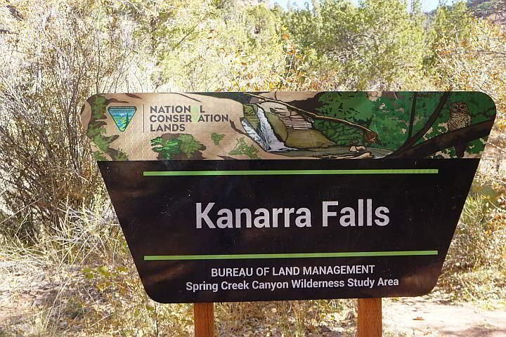 Kanarra Falls Bureau of Land Mgmt sign