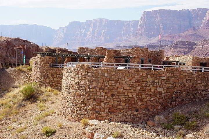 Navajo Bridge Interpretive Center created with rustic stone architecture