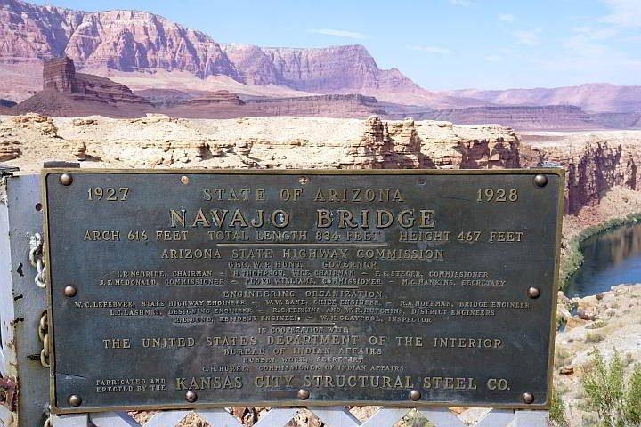 Navajo Bridge plaque 1927 1928