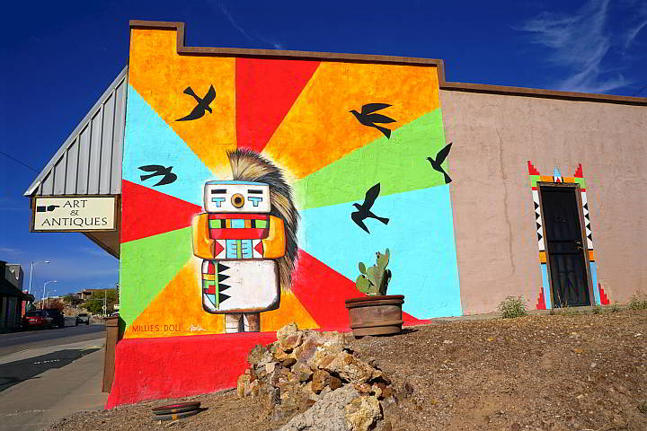 Colorful mural Millies Doll in Truth or Consequences NM