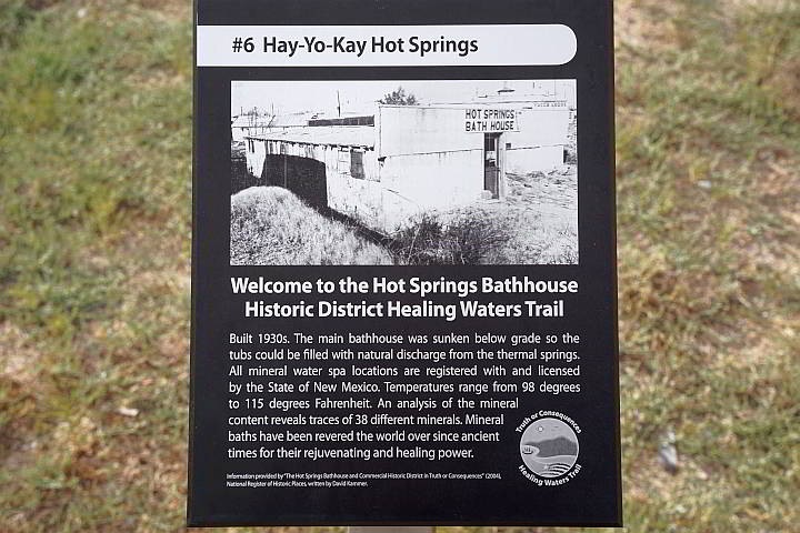 An info board for Hot Springs Bathhouse Historic District NM