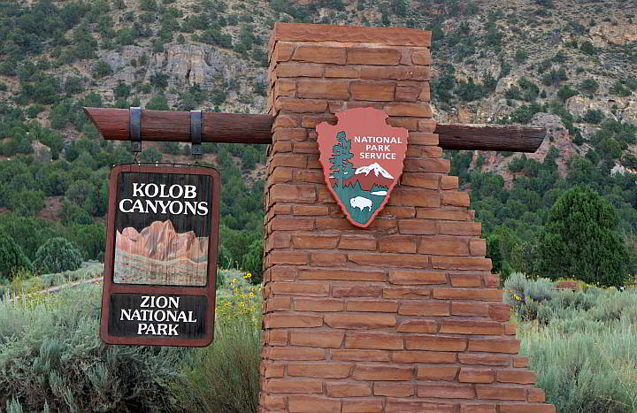 Kolob Canyons Zion National Park entrance sign