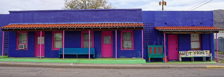 Colorful pink, purple, blue, turqhoise Pelican Spa in Truth or Consequences NM