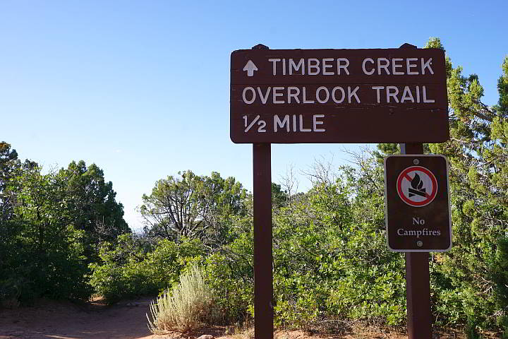 Timber Creek Overlook trailhead sign