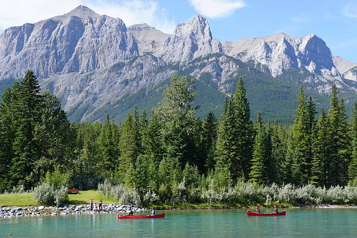 Canoeing Bow River Canmore Alberta Canada