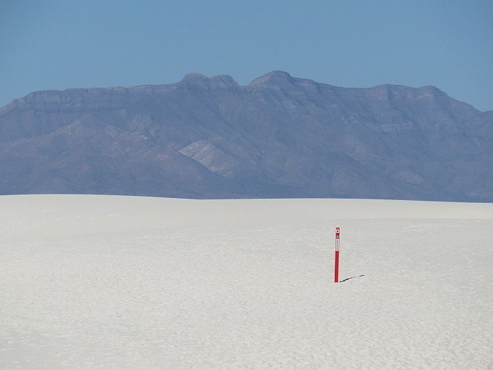 Trail marker at White Sands National Park