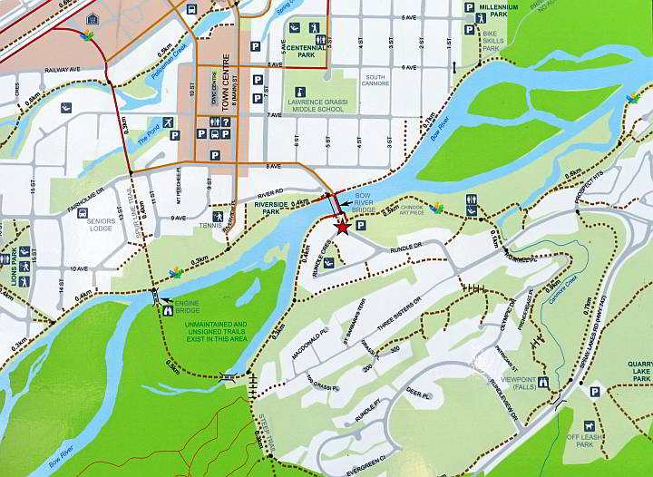 Map of Canmore trails near Bow River
