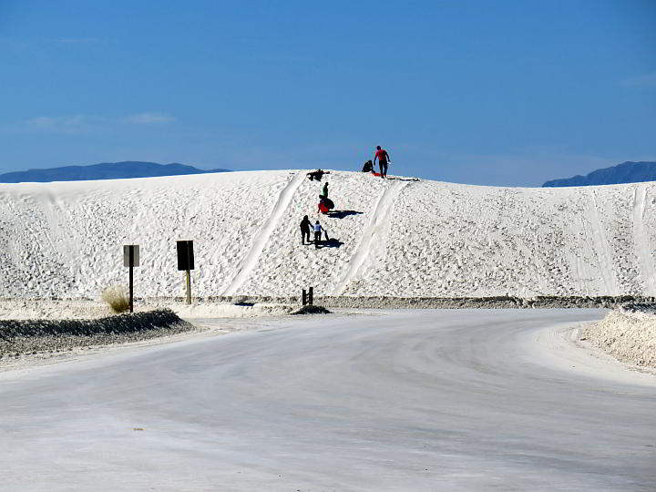 Sliding at White Sands National Park