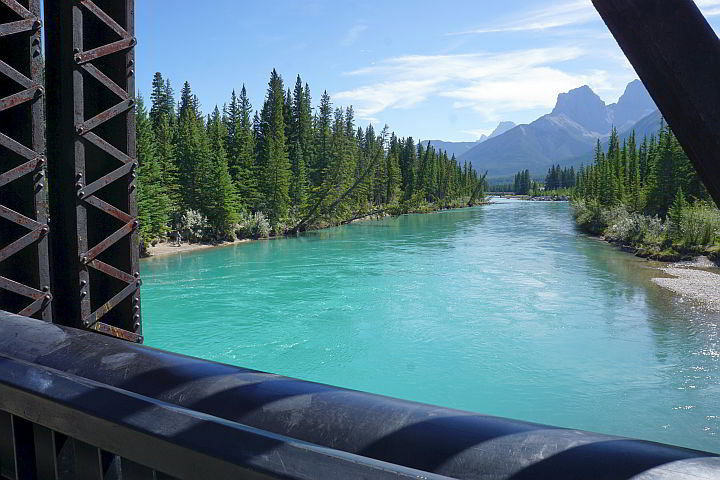 View of Bow River from Canmore Engine Bridge
