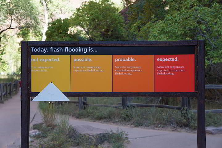 Flash flood prediction for the day at the narrows in Zion