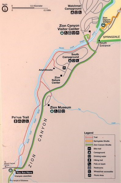 Map of the Pa'rus Trail at Zion National Park