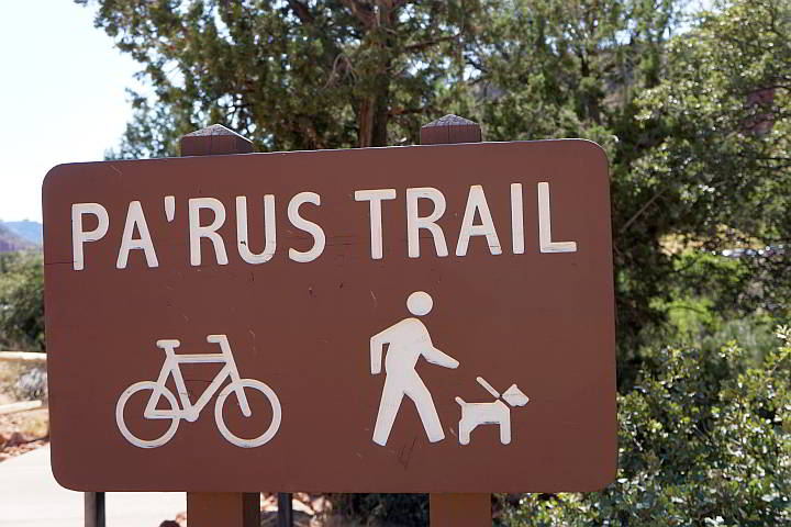Pa'rus Trail sign at Zion