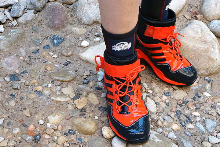 Rented waterproof shoes and socks to hike the narrows at Zion