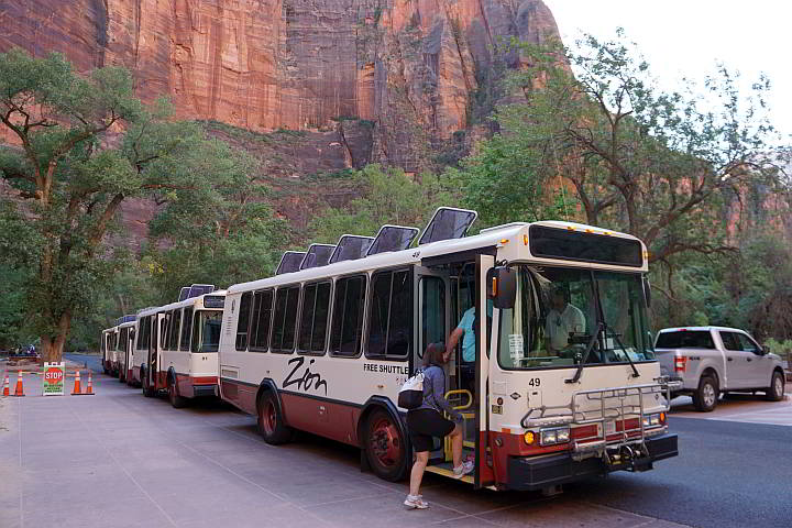 Free shuttle bus at Zion National Park