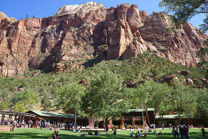 Zion Lodge Restaurant with mountains in background