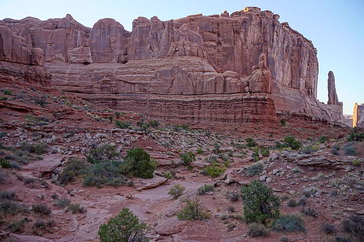 Park Avenue hike with red rock formations at Arches National Park Utah