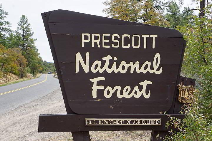 Prescott National Forest sign