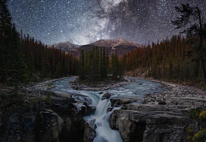 Milky Way Jasper Natonal Park Sunwapta Falls