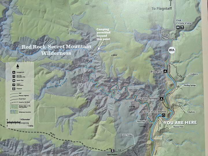 Map West Fork Oak Creek Canyon hike