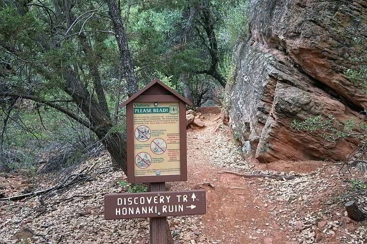 Visitor sign and trail marker Honanki site