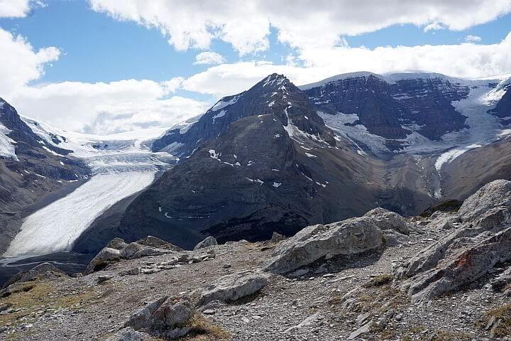 Athabasca Glacier view from Wilcox Ridge Jasper