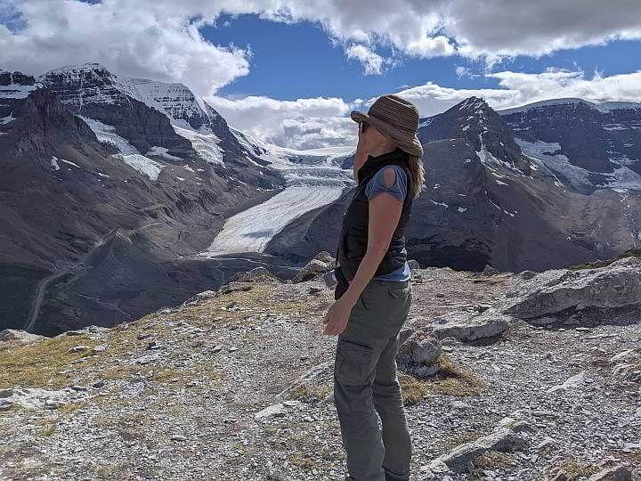 Hiker at Wilcox Ridge summit